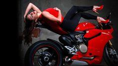 Ducati 1199 Sportbike Brunette women females girls wallpaper background