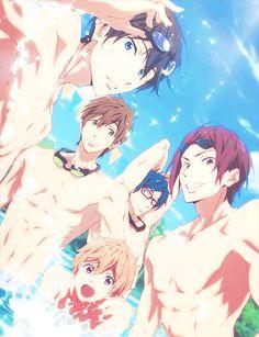 Free! Iwatobi Swim Club. Haruka Nanase, Makoto Tachibana, Nagisa Hazuki, Rei Ryugazaki, and Rin Matsuoka (of Samezuka Swim Team).