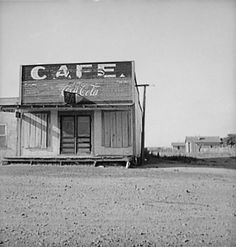 Abandoned cafe in the dust bowl town of Carey, Texas, 1937.