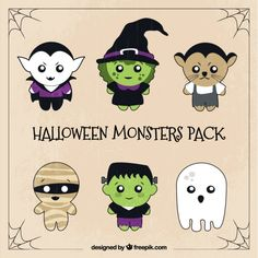 Six pack of cute halloween characters Free Vector