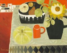 1989 Mary Fedden: Pumpkin and Sunflower Still Life Drawing, Still Life Art, Matisse, Artist Painting, Artist Art, Vie Simple, Collections Of Objects, Botanical Art, Love Art