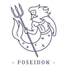 Tolle Logos, Viking Myths, Poseidon Tattoo, Doodle People, Original Design, Tattoo Illustration, Pottery Designs, Illustrator Tutorials, Greek Gods