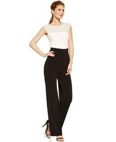 sangria Illusion-Yoke Colorblocked Jumpsuit - Jumpsuits & Rompers - Women - Macy's