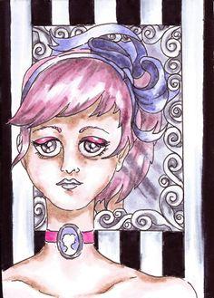 Pink Hair Black and White Stripe Mirror Big Eyes Cameo - OOAK Original ACEO