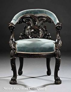 American Renaissance Carved Walnut Library Chair, mid-19th c., attributed to Charles White, Philadelphia,