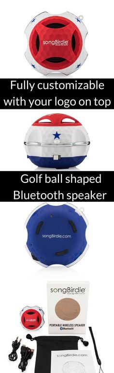 The coolest golf accessory! Listen to your fave music on the golf course. Golf ball shaped Bluetooth mini speaker allows golfers to listen to their music on and off the golf course. Ideal as for golf tournament swag bags. Explore songBirdie accessories at https://songbirdie.myshopify.com/collections/gbsbt/products/gbsbt-red-white-blue?variant=29639697735