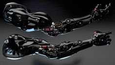 Robotic arms by Ociacia.deviantart.com on @DeviantArtLiking that black and blue combined to piano black effect