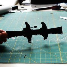 Canoe Papercut: Two in a Canoe Hand Cut Paper by papercutsbyjoe