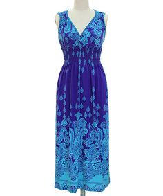 Look at this #zulilyfind! Blue & Turquoise Paisley Surplice Dress by Bonmode #zulilyfinds