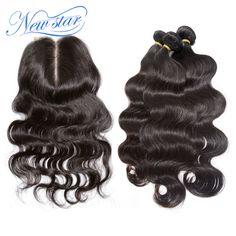 Nowa gwiazda włosów Peru virgin hair z zamknięcie Peru ciała fala 3 zestawy z środkowa część ciało fala koronki zamknięcie