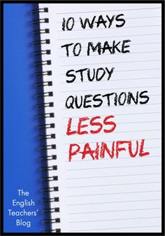 10 Ways to Make Study Questions Less Painful Classroom Procedures, Social Studies Classroom, School Classroom, Classroom Management, Classroom Ideas, High School Literature, Teaching Secondary, Teaching Resources, School Resources