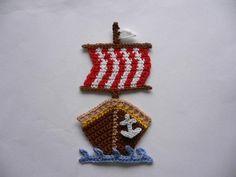 Häkelapplikationen - Piraten/Wikingerschiff - Häkelapplikation - ein Designerstück von Spielkiste bei DaWanda