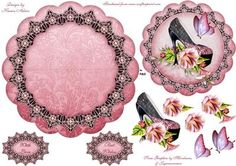 Morning Glory Shoe Wobble Card on Craftsuprint designed by Karen Adair - A pretty scallop wobble card with a pretty shoe adorned with Morning Glory style flowers and a pretty butterfly, all in a stunning contrast of pink and black. If you like this check out my other designs, just click on my name. - Now available for download!
