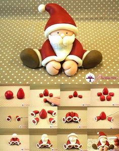 Fondant Santa tutorial - For all your Christmas cake decorat.- Fondant Santa tutorial – For all your Christmas cake decorations, please visit w… Fondant Santa tutorial – For all your Christmas cake decorations, please visit www. Christmas Cake Designs, Christmas Cake Decorations, Fondant Decorations, Fondant Christmas Cake, Xmas Cakes, Christmas Cake Topper, 3d Cakes, Holiday Cakes, Polymer Clay Christmas
