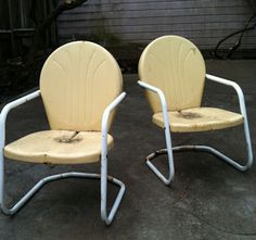 Metal Lawn chairs.