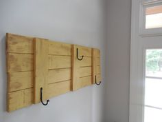 Coat Rack / Farmhouse /rustic  cottage yellow weathered coat rack with 3 forged iron hooks on Etsy, $145.25 AUD