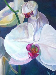 The white orchids art print of an original acrylic by ChernikaArt, €21,00