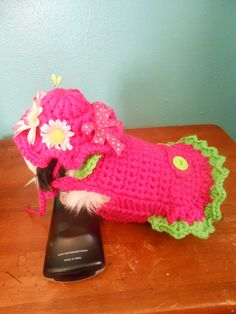 Daisy Guinea Pig Sweater Easter Pink Crocheted Dress by Fancihorse