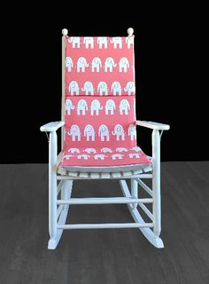 Coral Pink Elephants Rocking Chair Covers, Kids Nursery Cover And Inserts | affordable, designer, custom, handmade, trendy, fashionable, locally made, high quality Rocking Chair Covers, Rocking Chair Cushions, Pink Elephant, Elephant Print, Ikea Kids Room, Kids Room Organization, Kids Room Design, Slipcovers For Chairs, Coral Pink