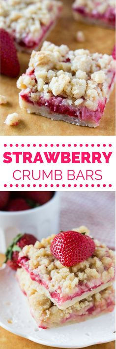 These easy Strawberry Crumb Bars have a buttery shortbread base, a layer of fresh juicy strawberries & are topped with a delicious streusel topping. Easy Desserts, Delicious Desserts, Yummy Food, Pretzel Desserts, Picnic Desserts, Summer Desserts, Chocolate Desserts, Strawberry Bars, Easy Strawberry Desserts