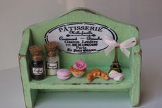 Excited to share the latest addition to my #etsy shop: Handmade green Bakery shabby chic wood shelf with cupcakes,jam,croissant,coffee,biscuits display-miniature dollhouse in 12th scale-furniture https://etsy.me/2I84Y8N #toys #green #anniversary #pink #shabbychic #cott