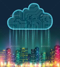 Buy Cloud Storage Realistic Composition by macrovector on GraphicRiver. Cloud storage realistic composition with digital elements and bright lights on the city vector illustration Perfect Image, Perfect Photo, Great Photos, New Pictures, City Vector, Technology Background, Vector Photo, Layout, Cloud Computing