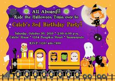 Halloween Train Kids Cartoon Cute Baby 1st Personalized Custom Birthday Party invitations on Etsy, $16.00