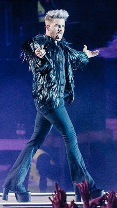 Adam Lambert performing with Queen May 2016