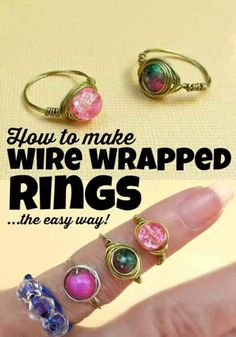 Cool Crafts for Teen Girls - Best DIY Projects for Teenage Girls - Wire Wrapped Bead Rings - diyprojectsfortee...