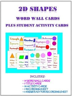 2D Shapes Math Activity Cards and Word Wall