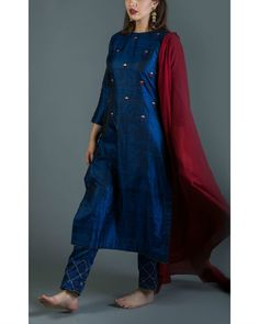 Sapphire Embroidered Kurta Set With Maroon Dupatta Salwar Designs, Kurta Designs Women, Kurti Designs Party Wear, Stylish Dresses For Girls, Stylish Dress Designs, Chudidhar Designs, Simple Kurta Designs, Kurti Embroidery Design, Patiala