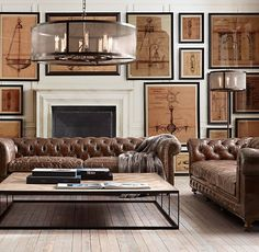These sofa's are created by using vintage leather, but the base construction is new - via Restoration Hardware