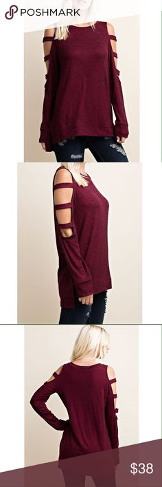 Burgundy Top with Cut Out Sleeves 50% Rayon 46% Polyester 4% Spandex. No trades. Tops