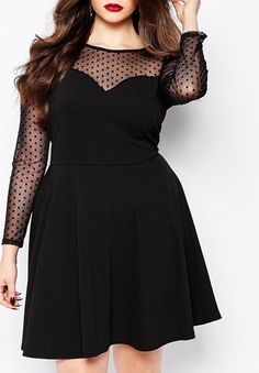 Chic Round Neck Long Sleeve See-Through Plus Size Dress For Women www.sammydress.com