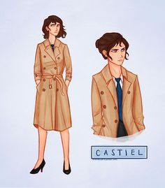 Rule 63 Supernatural: Female Dean, Sam and Castiel … the hairdo on the right drawing is a nice idea to hide away my long hair for this cosplay :)