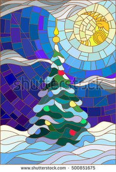 Illustration in the style of stained glass, decorated Christmas tree on the background of snow and night sky with the moon