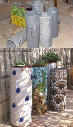 7. Planters made from plastic PVC tubes and mosaic tiles.