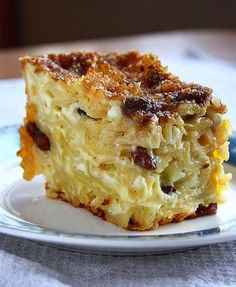 Sweet Noodle Kugel: Kugel is a traditional Jewish dish that's often served as a casserole or dessert. But we say there's absolutely no harm in eating it for breakfast. This sweet noodle casserole is made with cottage cheese, sugar, raisins, cinnamon and noodles.