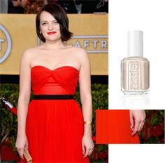 Celebrity manicurist Lisa Postma wanted something very Parisian and elegant to offset the boldness of Elizabeth Moss's red dress. essie's Cocktails and Coconuts was the perfect compliment on the red carpet. #SAGawards #beauty