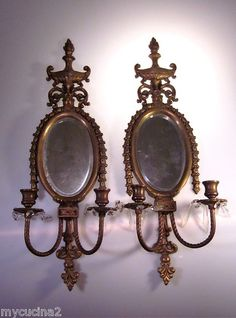 Pair Antique Mirrored Sconces Crystal Prisms Paris Hotel Flame Bell Flower 19th | eBay