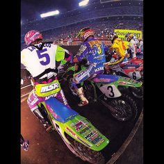 Mike LaRocco (5), Mike Kiedrowski (3), Jeff Emig (6) and Jeremy McGrath (15) prepare to launch off the line at Anaheim in 1993 - Joe Bonnello Photo #McGrathsFirstWin #Supercross #TheRock #MXKied #FroDaddy #ItsShowtime #90sMotoRuled