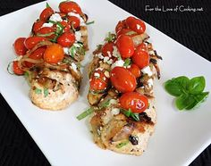 chicken breasts with tomatoes, caramelized onions and feta cheese