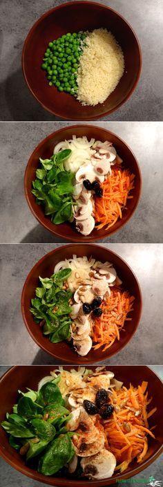 Au menu ce soir : une énorme salade composée, façon Buddha bowl. Semoule, petits pois, mâche, champignons, oignons, carotte, olives... Qui a dit que manger végétarien était triste? #buddhabowl #fleanette