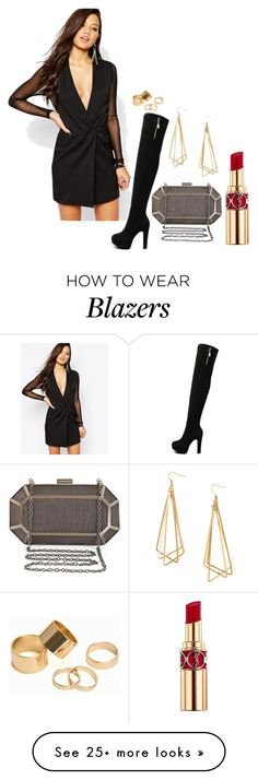 """blazer dress"" by cico-193 on Polyvore featuring Missguided, BCBGMAXAZRIA, H&M, Pieces and Yves Saint Laurent"