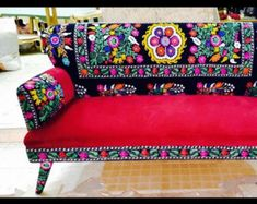 Pink suzani sofa with patch work by Bohoandmore on Etsy