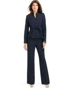 Evan Picone Suit, Belted Stand-Collar Jacket & Pants - Womens Suits & Suit Separates - Macy's