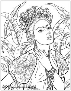 We are so glad you dropped by! These free colouring pages are created by Whimsical Publishing for your enjoyment! People Coloring Pages, Coloring Book Pages, Art Sketches, Art Drawings, Tattoo Drawings, Arte Peculiar, Kahlo Paintings, Free Adult Coloring, Frida Art