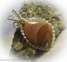 Lake Superior  Agate Wire Wrapped Stone Silver by superioragates, $30.00