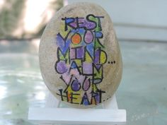 Hand painted Lake Erie beach stone with inspirational message, unique and one of a kind.