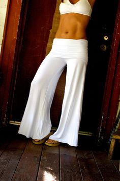 SUMMER WHITE wide leg elegant flowy rayon or cotton lycra palazzo gaucho resort lounge beach pants with fold over skirt waist